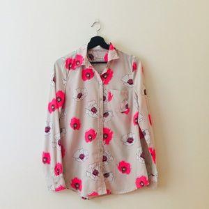 Merona | Tan & Pink Floral Button Down Blouse